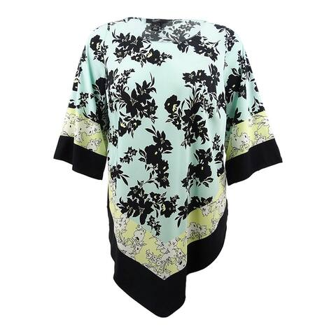 Alfani Women's Plus Size Mixed-Printed Point-Hem Top - Tear Mix Floral