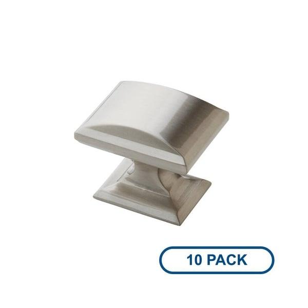 Amerock BP29340-10PACK Candler 1-1/4 Inch Long Rectangular Cabinet Knob - Package of 10 - satin nickel