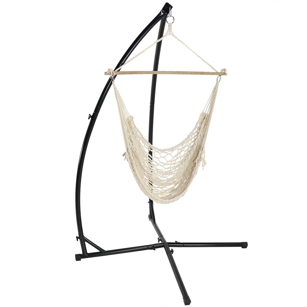 ... Thumbnail Image ...  sc 1 st  Overstock.com & Shop Sunnydaze Durable X-Stand and Hanging Hammock Chair Set or X ...