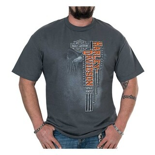 Harley-Davidson Men's Flight Lines Distressed Short Sleeve T-Shirt - Charcoal