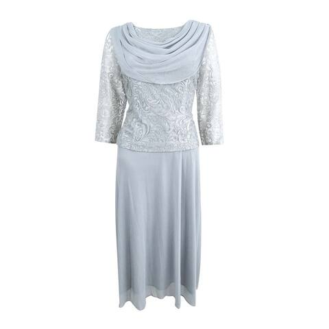 Alex Evenings Women's Petite Embroidered-Overlay Dress - Silver