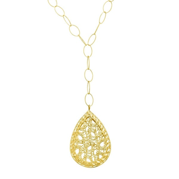 Just Gold Caged Teardrop Necklace in 14K Gold - Yellow