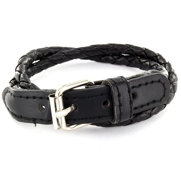 Black Multi Weaved Double Wrap Leather Bracelet with Buckle End Design (5 mm) - 7.5 in