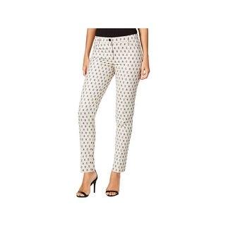 Anne Klein Womens Straight Leg Pants Slim Printed