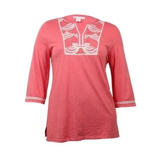 Charter Club Women's Embroidered Beaded Slub Knit Tunic