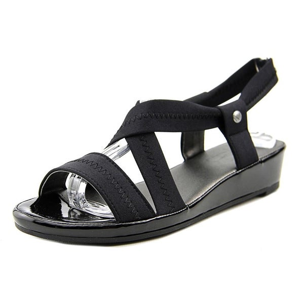 Life Stride Debutante Women W Open Toe Canvas Black Wedge Sandal