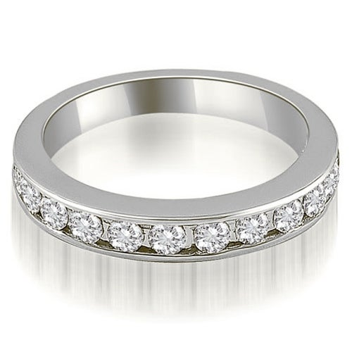 1.44 cttw. 14K White Gold Classic Channel Set Round Cut Diamond Wedding Ring