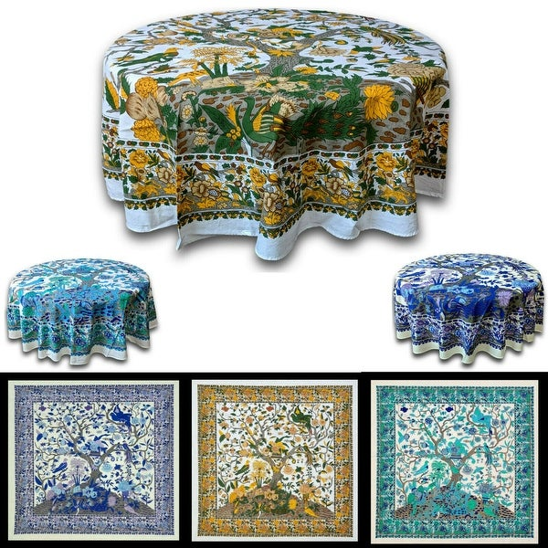 Tree of Life Tablecloth for Square Tables Cotton Floral Tablecloth Round