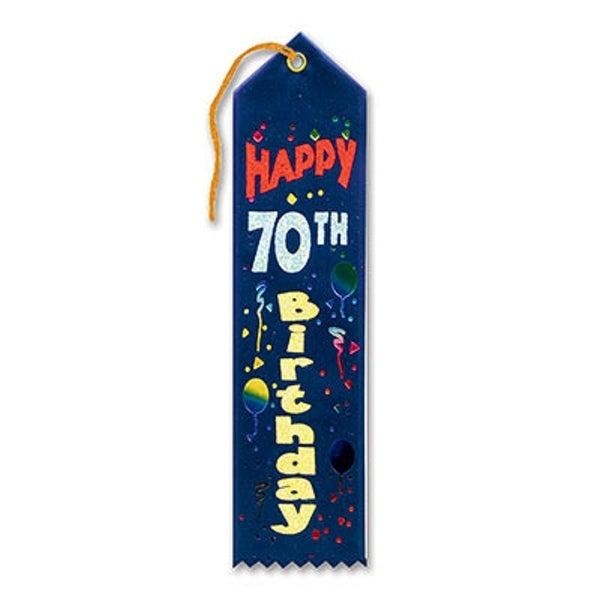 """Pack of 6 Dark Blue """"Happy 70th Birthday Award"""" School Award Ribbon Bookmarks 8"""" - N/A"""