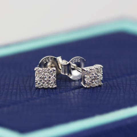 Auriya 14k Gold 1/4ctw Square Pave Diamond Stud Earrings
