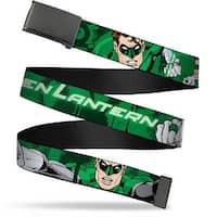 Blank Black  Buckle Green Lantern Green Glow W Text Webbing Web Belt