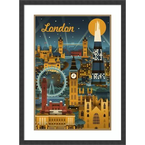 Framed Wall Art Print London by Lantern Press 23x31-inch