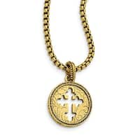 14k Gold IP Cross Necklace - 20in