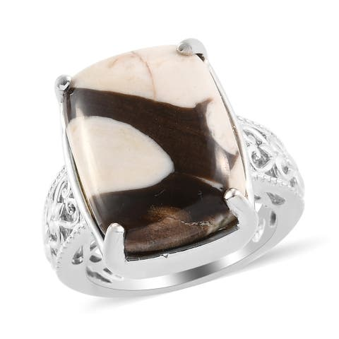 Shop LC Platinum Over Jasper Solitaire Ring Size 9 Ct 11.5