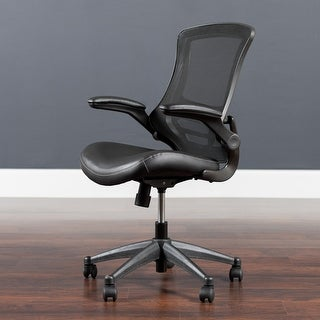 Link to Mid-back Mesh Swivel Ergonomic Task Chair w/ Flip-up Arms Similar Items in Office & Conference Room Chairs