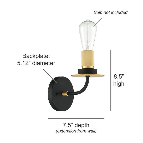 Onyx Industrial Wall Sconce, Black and Gold Metal Vanity Light Fixture