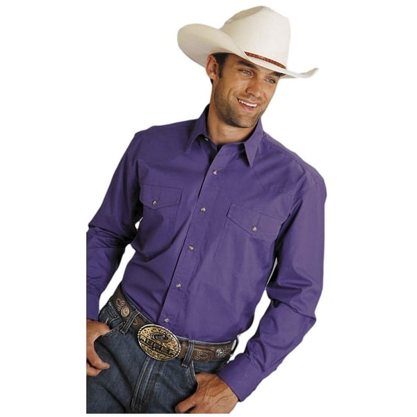 Roper Western Shirt Mens L/S Snap Purple
