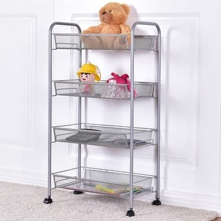 Costway 4 Tier Storage Rack Trolley Cart Home Kitchen Organizer Utility Baskets Sliver|https://ak1.ostkcdn.com/images/products/is/images/direct/ec004d7c798e905b585bbb819a92bf28d2175130/Costway-4-Tier-Storage-Rack-Trolley-Cart-Home-Kitchen-Organizer-Utility-Baskets-Sliver.jpg?impolicy=medium