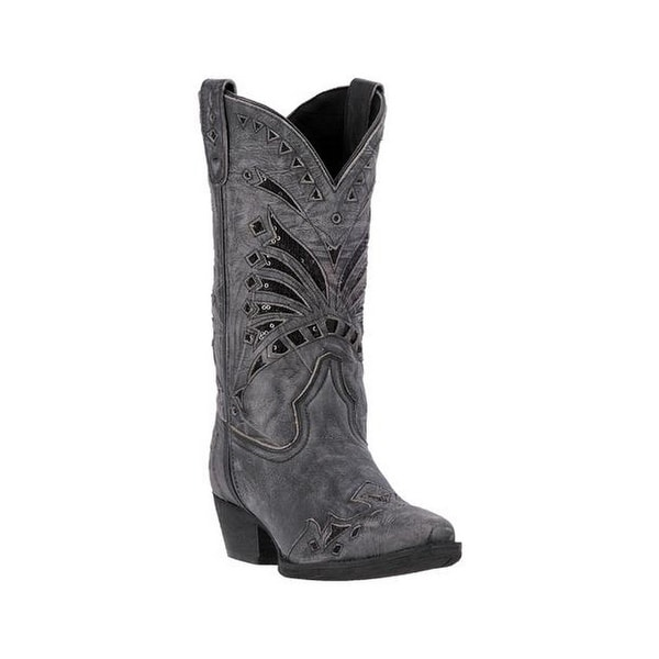 Laredo Western Boots Womens Sequin Edgy Snip Leather Black