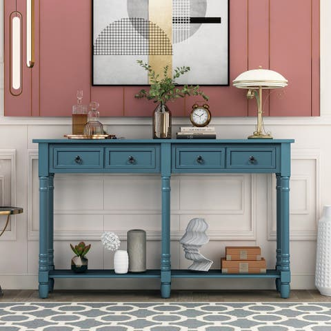Antique Navy Console Table Sofa Table with Drawers and Shelf
