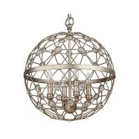 "Park Harbor PHPL5214 16"" Wide 4-Light Foyer Pendant with Globe Cage Frame - silver leaf - n/a"