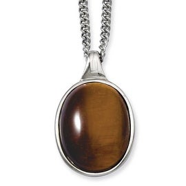 Stainless Steel Tiger's Eye Pendant 18in Necklace (2 mm) - 18 in