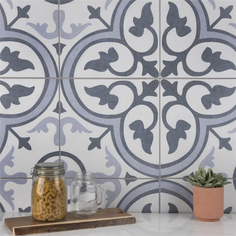 SomerTile Amberes Azul II 13 in. x 13 in. x 8mm Ceramic Floor and Wall Tile