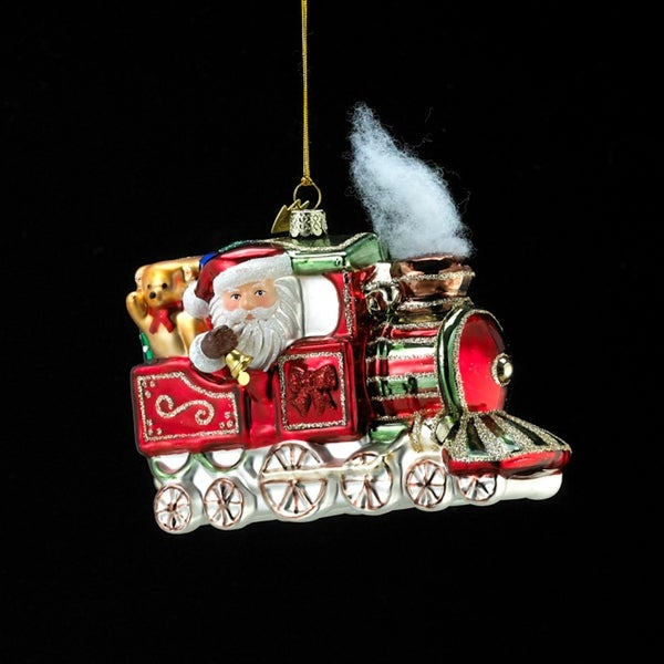 """5.25"""" Noble Gems Glass Santa Claus in Christmas Train Holiday Ornament"""