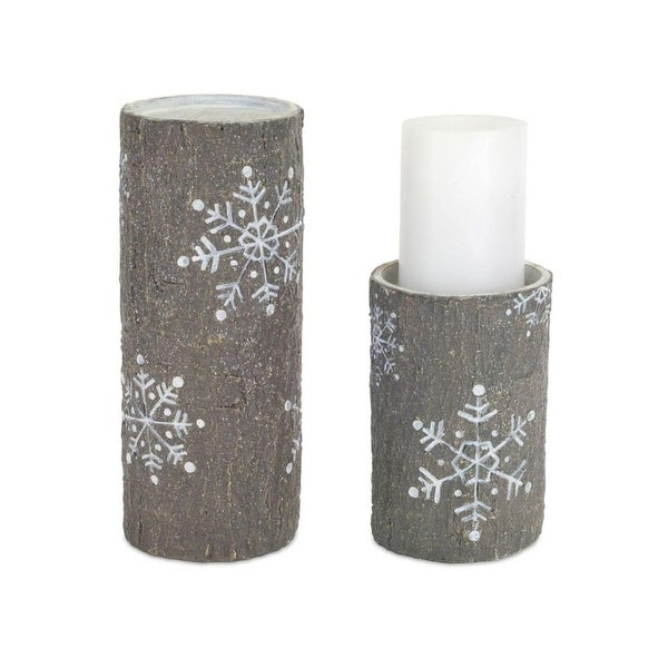 "Pack of 6 Gray and White Faux Stone Snowflake Pillar Candle Holders 7""-10"""
