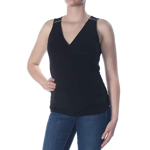 INC Womens Black V Neck Top Petites Size: M