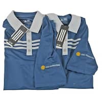 Adidas Golf Size Small Men's 3 Stripe Blue Stone Two Pack Embroidered Shirts