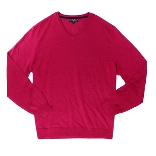 Club Room NEW Berry Glaze Pink Mens Size 2XL V-Neck Wool Sweater
