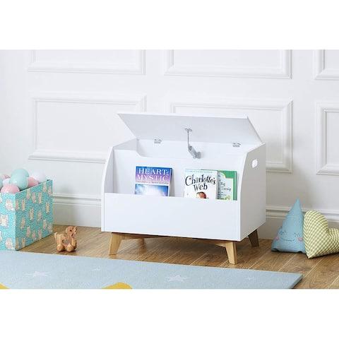 UTEX Children Toy Box with Front Book Storage Area, Kids Toy Storage Bench