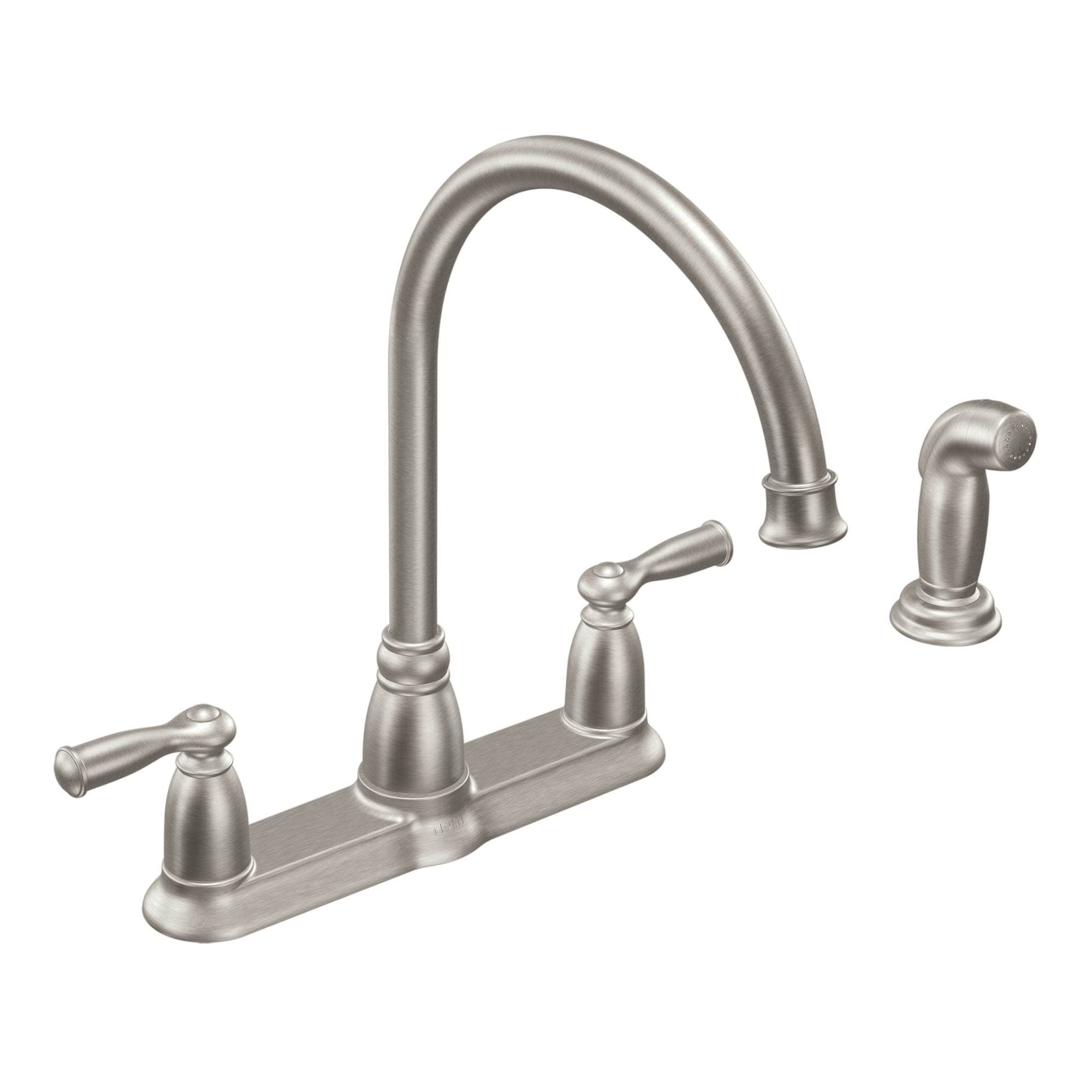 Shop Black Friday Deals On Moen Ca87000 Banbury High Arc Kitchen Faucet With Side Spray Spot Resist Stainless Overstock 17032054
