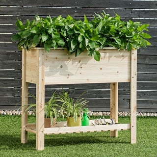 Link to COSTWAY Raised Garden Planter Bed Box Stand Wood Elevated Planter - Natural Wood - 36''x16''x32'' Similar Items in Outdoor Decor
