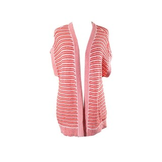 Tommy Hilfiger Coral White Striped Open Cardigan L