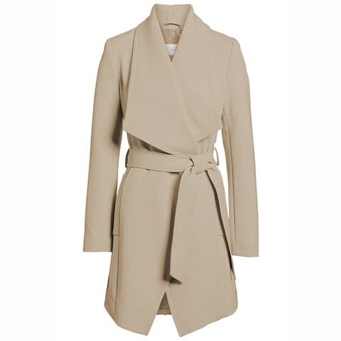 T Tahari Women's Abbey Draped Wrap Coat Hazelnut Khaki