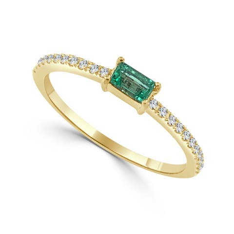 Emerald & Diamond Band 14K Gold by Joelle Collection