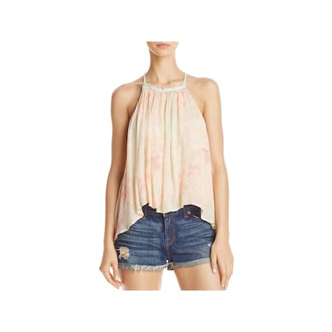 Free People Womens Casual Top Pleated Sleeveless