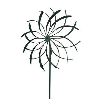 18 in. Metal Garden Stake Flower Wind Spinner Sculpture