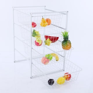 VECELO 4-Tier Storage Cart with 4 Removable Baskets Kitchen Laundry Organizer/ Bathroom Utility Shelf