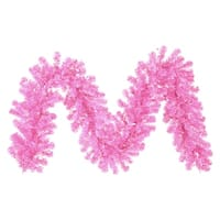 "9' x 12"" Pre-Lit Hot Pink Tinsel Artificial Christmas Garland - Pink Lights"