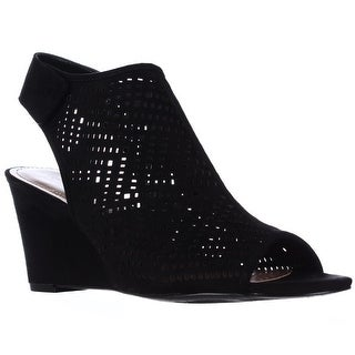 SC35 Heather Perforated Wedge Caged Sandals - Black