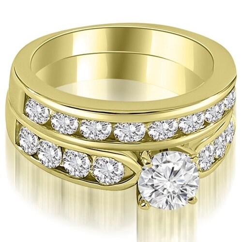 2.70 cttw. 14K Yellow Gold Heavy Classic Channel Set Round Cut Diamond Bridal Set HI,SI1-2