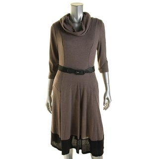 Signature By Robbie Bee Womens Petites 3/4 Sleeves Full-Length Sweaterdress
