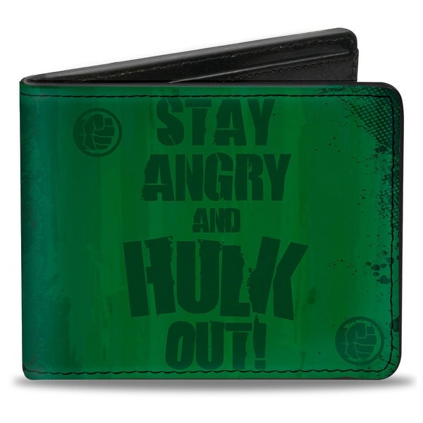 Marvel Avengers Stay Angry And Hulk Out! Hulk Logo + Half Face Greens Bi Bi-Fold Wallet - One Size Fits most