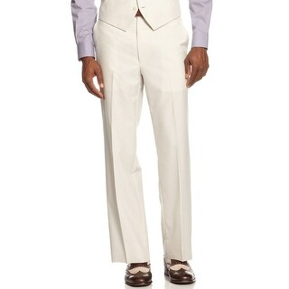 Sean John Flat Front Dress Pants Cream Striped Regular Fit Suit Separates