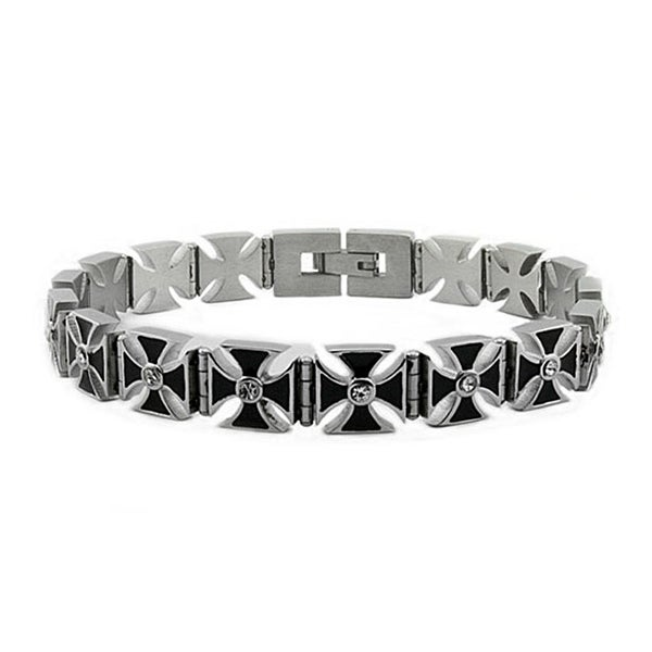 Stainless Steel Cross Link Bracelet - 8.5 inches