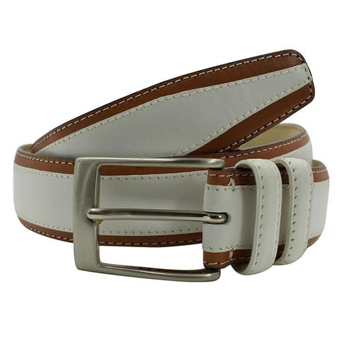 Brioni Mens White Brown Buckle Belt Size 85
