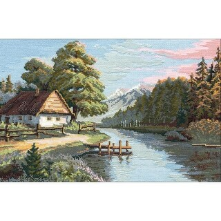 """Still Silent River Counted Cross Stitch Kit-15""""X10.5"""" 16 Count"""